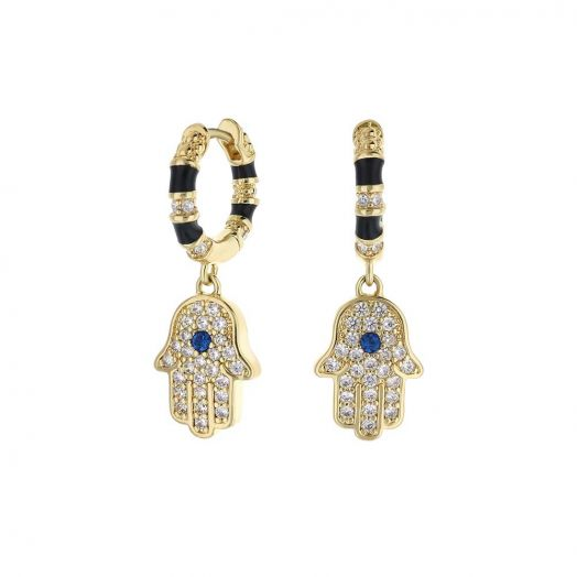 Lucky Hamsa Pave Earrings
