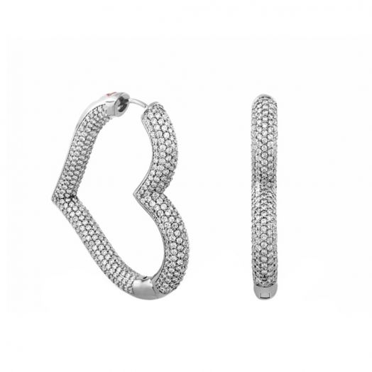 Shimmer and Glimmer Pave Heart Earrings