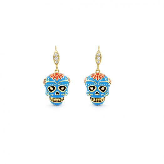 Viva Dia De Los Muertos Skull Earrings.