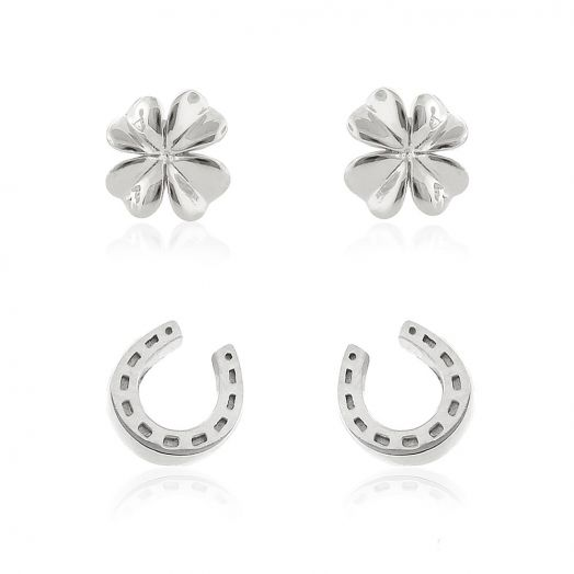 Sydney Leigh Clover and Horseshoe Earrings Set of 2