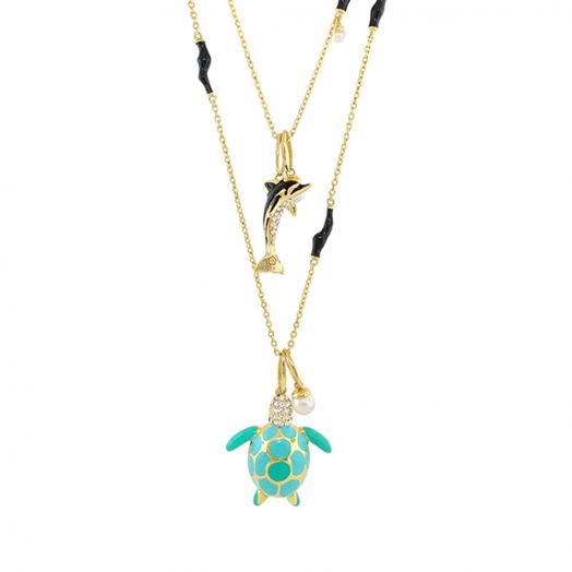 Eau Turtle and Dolphin Necklace