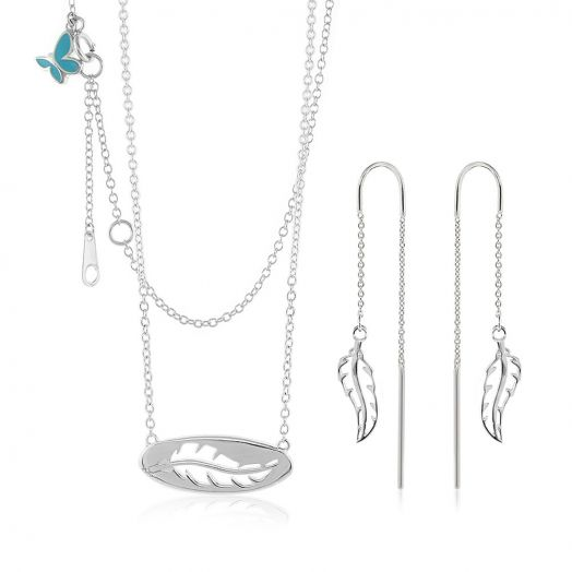 Sydney Leigh Feather Necklace & Earrings Set