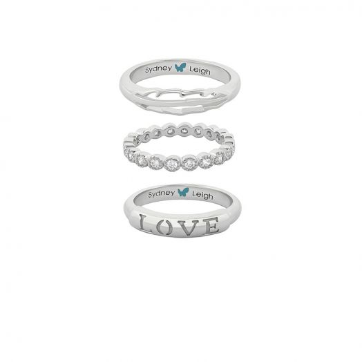 Sydney Leigh Feather & Love Rings Set of 3