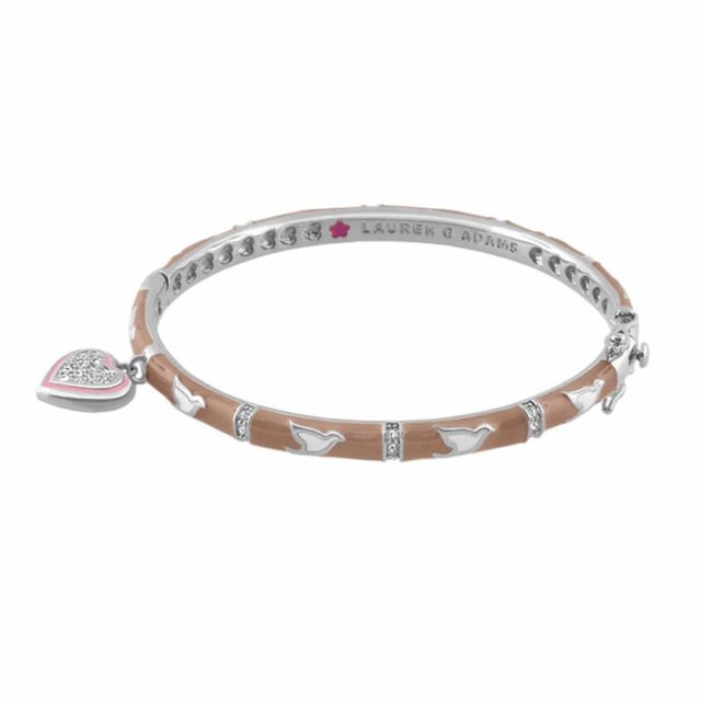 Stackable Rhodium Bangle With Hanging Heart Charm