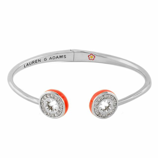 Open Arms Pave Flower Bangle