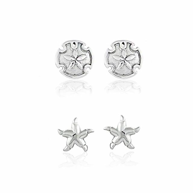 Sydney Leigh Sand Dollar & Starfish Earrings Set of 2