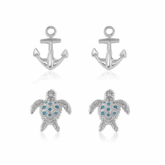 Sydney Leigh Anchor & Turtle Earrings Set of 2