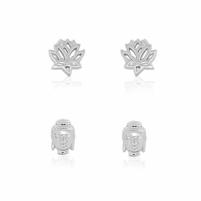 Sydney Leigh Buddah & Lotus Flower Earrings Set of 2