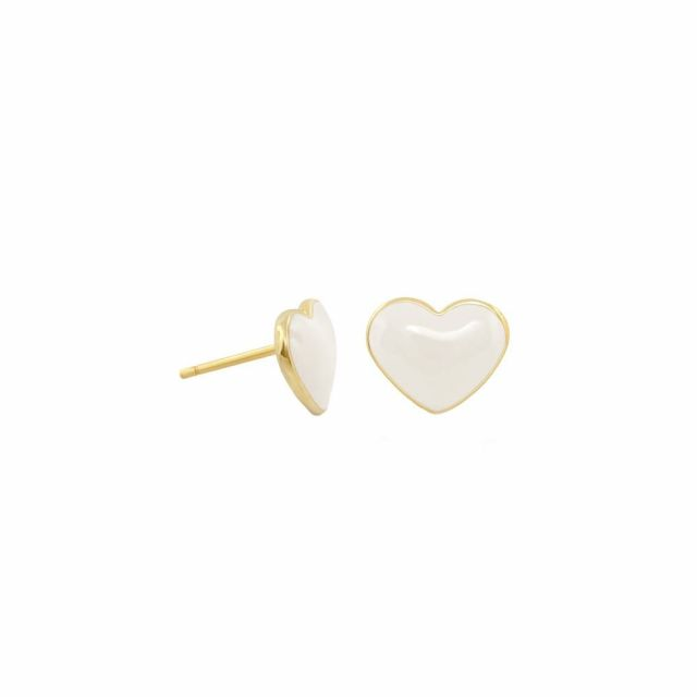 Enamel Stud Heart Earrings