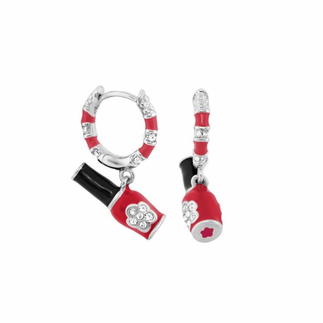 Girl's Huggie Earrings With Nail Polish Charm
