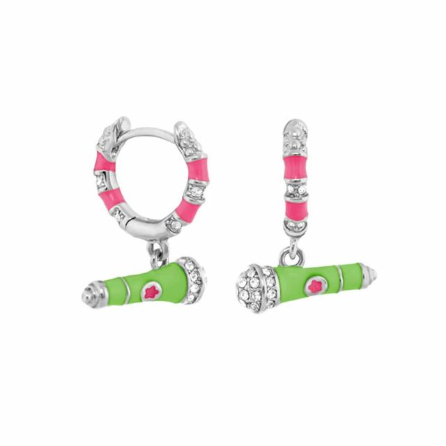 Girl's Earrings With Microphone Charm