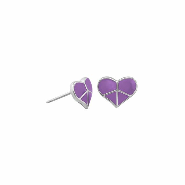 Peace Sign Heart Enamel Studs