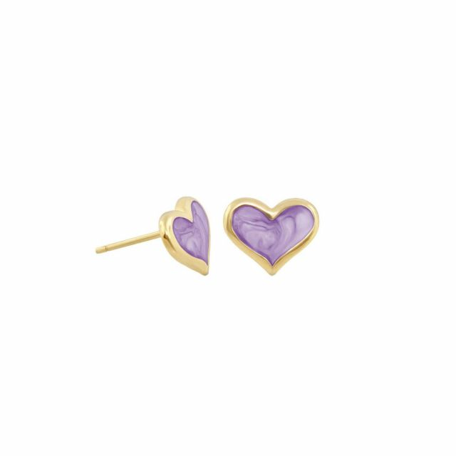 Enamel Heart Stud Earrings