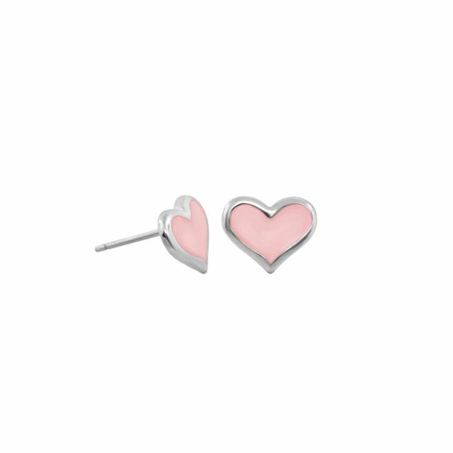 Heart Enamel Stud Earrings