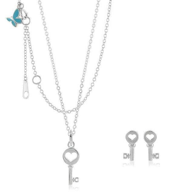 Sydney Leigh Heart Key Necklace & Earrings Set