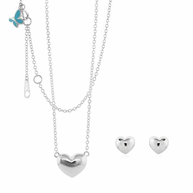 Sydney Leigh Heart Necklace & Earrings Set