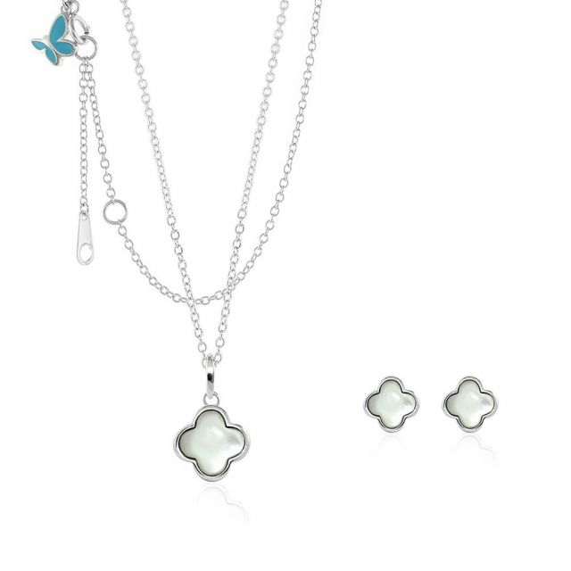 Sydney Leigh Clover Necklace & Earrings Set