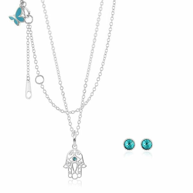 Sydney Leigh Hamsa Necklace & Earrings Set