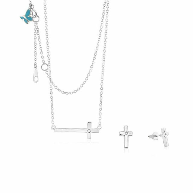Sydney Leigh Cross Necklace & Earrings Set