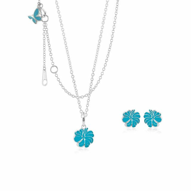 Sydney Leigh Hibiscus Flower Necklace & Earrings Set