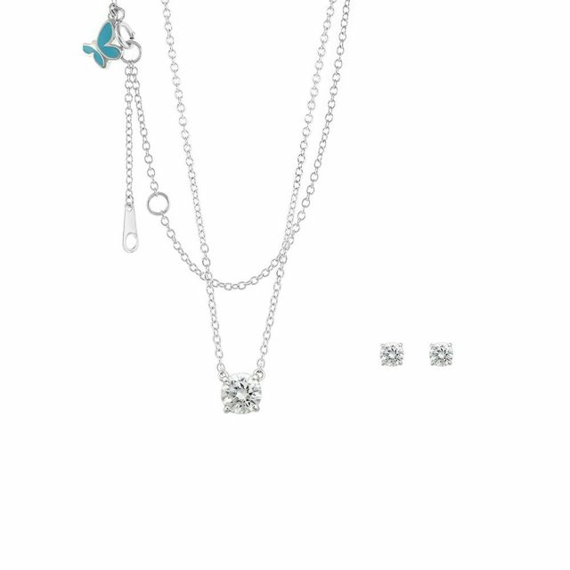 Sydney Leigh Cz Pendant & Earrings Set.