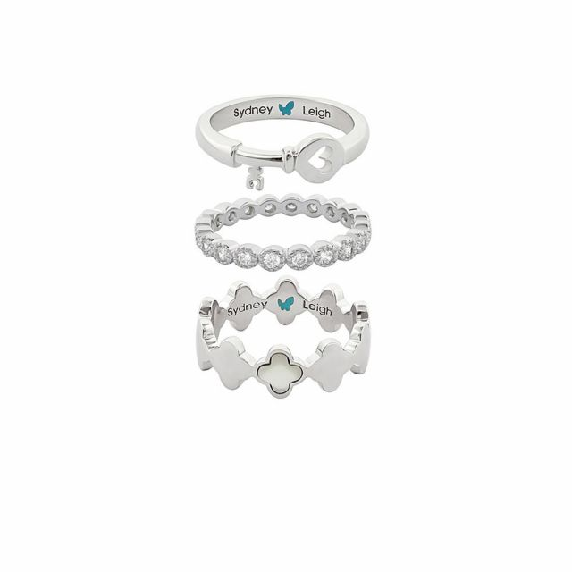 Sydney Leigh Heart Key & Clover Rings Set of 3