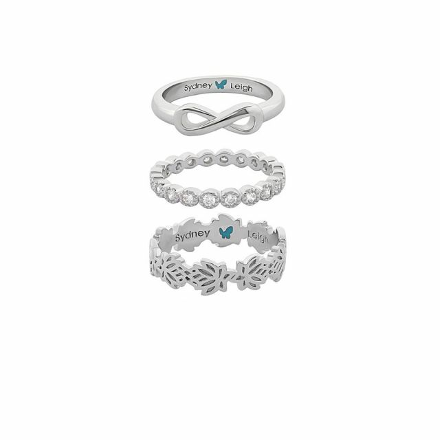 Sydney Leigh Infinity & Lotus Flower Rings Set of 3