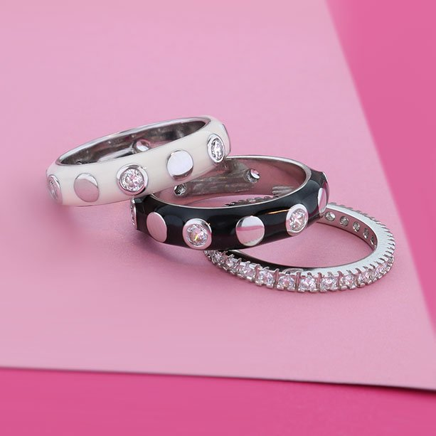 Black and White Stackable Rings Set